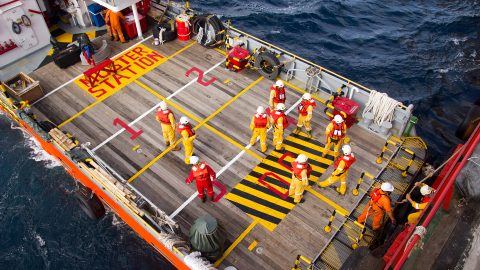 Muster Point On Ship Deck